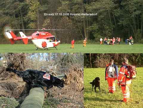 Einsatz der Rettungshundestaffel am 17.10.2008 in Roßtal-Weitersdorf